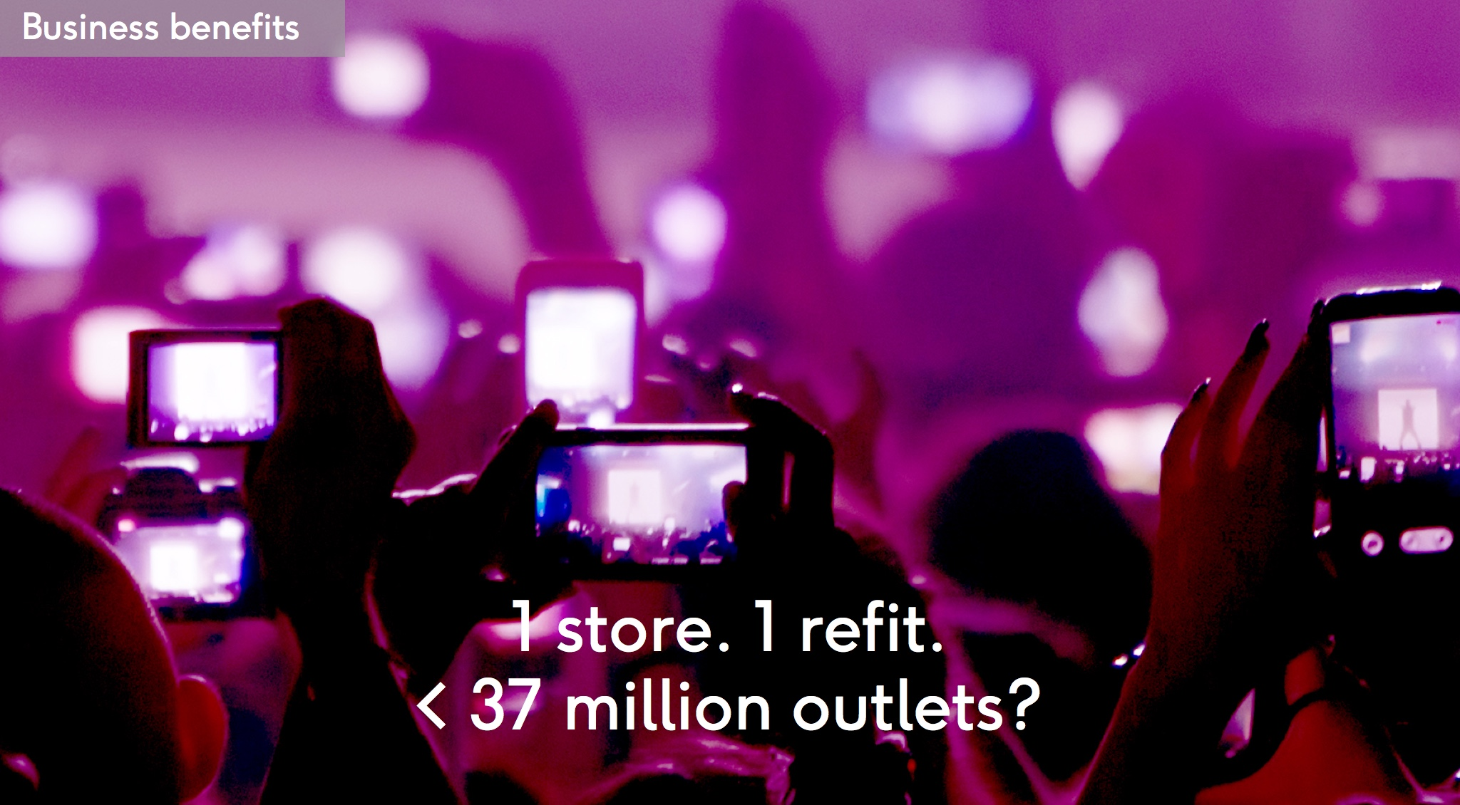Business benefit: One store refit equals millions of outlets